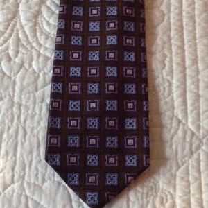 Hickey Freeman Brown/pink/blue Italian Silk Tie